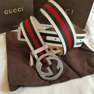 🌠Authentic Gucci Belt White Green Red Stripes